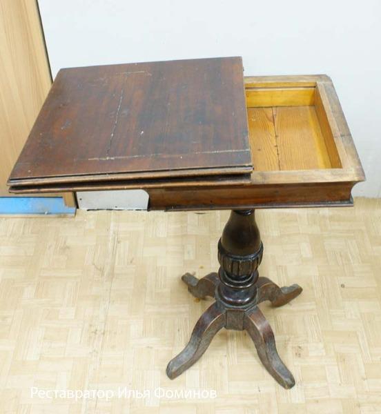 Реставрация ломберного стола. Столик до реставрации.