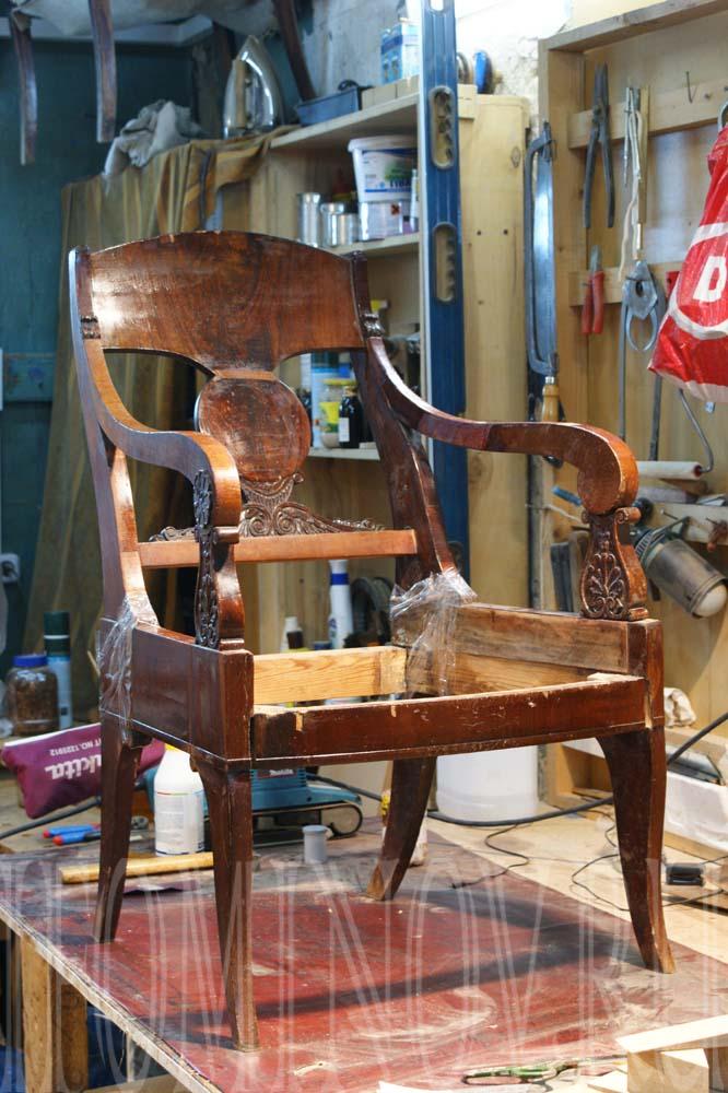 пример реставрации кресла первой половины 19 века