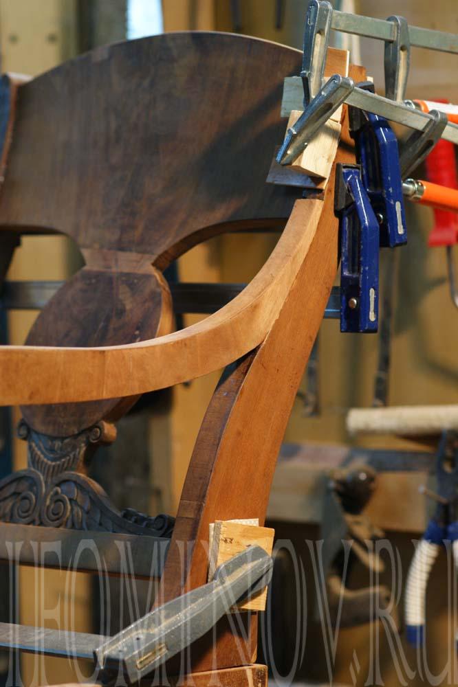 Укрепление конструкции кресла, подлокотники, струбцины