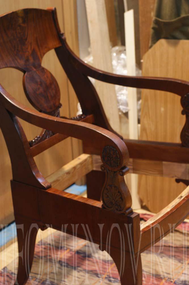 Подготовка кресла к полировке и подполированию шеллаком