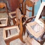 Подготовка каркаса стульев к обойным работам